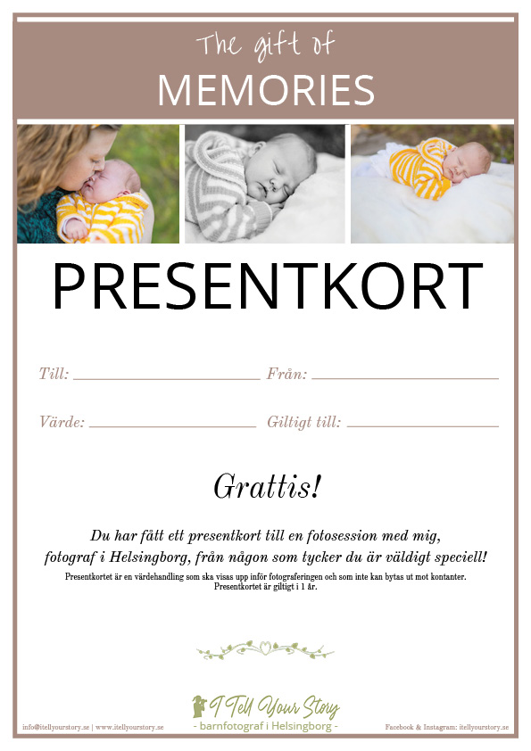 presentkort, barnfotografering, fotograf i Helsingborg, barnporträtt, presentkort, ge en gåva, barnfotografering